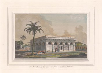 """Daniell: Mausoleum of Amir Khusero Delavi, Delhi. 1813. A hand coloured original antique aquatint. 9"""" x 7"""". [INDp1515]"""