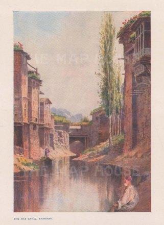 Srinagar: View of the Nallah Mar (Mar Canal). After Edward Molyneaux.