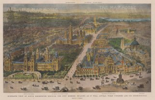 Bird's-Eye View of South Kensington: Showing Old Brompton Road with the Natural History Museum and the V & A, and Exhibition Road to the Imperial Institute and the Royal Albert Hall. After H.W. Brewer.