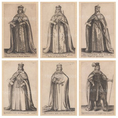 Set of six. Prince of Wales (Charles II), Duke of Buckingham, Earl of Arundel, a Marquis, a Viscount and a Knight of the Garter.