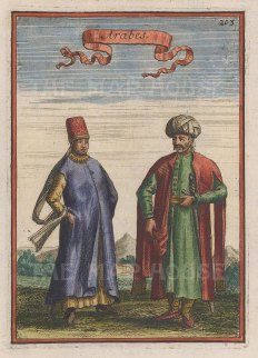 """Mallet: Traditional dress. 1683. A hand coloured original antique copper engraving. 4"""" x 6"""". [MEASTp1221]"""
