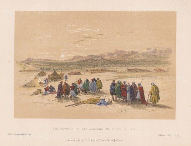 Wady Araba: Desert scene with the Encampment of the Allooeen.