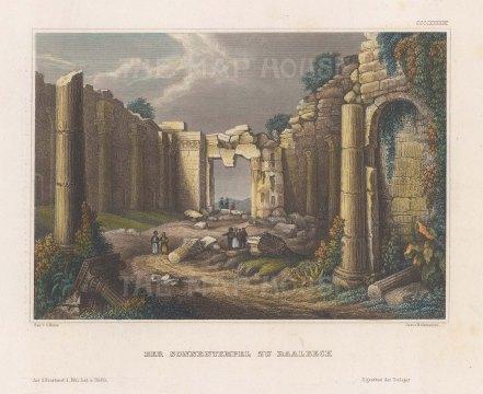 "Meyer: Baalbec. 1841. A hand coloured original antique steel engraving. 6"" x 4"". [MEASTp1464]"