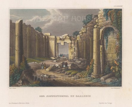 "Meyer: Baalbec. 1841. A hand coloured original antique steel engraving. 6"" x 4"". [MEASTp1464]"