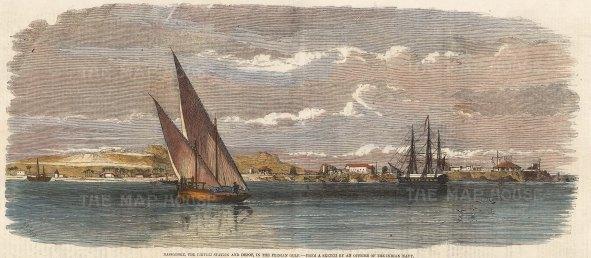 "Illustrated London News: Bassadore Qesham Island, Iran. 1857. A hand coloured original antique wood engraving. 14"" x 6"". [MEASTp1526]"
