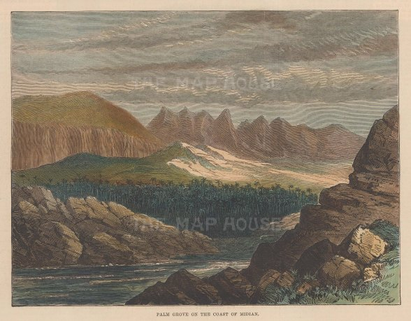 """Illustrated London News: Midian Coast. 1877. A hand coloured original antique wood engraving. 8"""" x 6"""". [MEASTp1567]"""