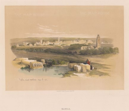 Ramla, Ancient Arimathea: Panorama of the 15th century Hospice of St. Nicodemus and St. Joseph of Arimathea with the 8th century White Mosque tower in the foreground.