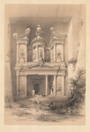 Petra: Al Khazneh, the treasury. View of the entrance to Nabatean mausoleum.