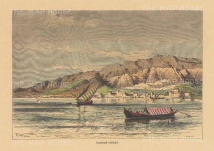"Reclus: Bandar Abbas, Iran. 1894. A hand coloured original antique wood engraving. 8"" x 6"". [MEASTp1651]"