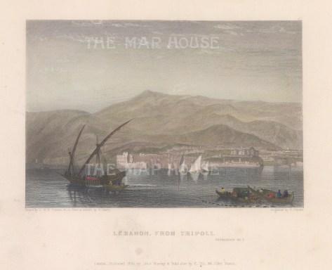 "Fullarton: Tripoli. 1856. A hand coloured original antique steel engraving. 6"" x 4"". [MEASTp1671]"