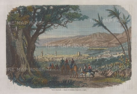 "Charton: Beirut. 1862. A hand coloured original antique wood engraving. 9"" x 6"". [MEASTp1675]"