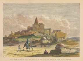 "Brown: Nineveh Nebbi Yunis, Iraq. 1885. A hand coloured original antique wood engraving. 9"" x 6"". [MEASTp1681]"