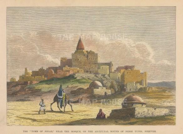 "Brown: Nineveh Nebbi Yunis, Iraq. 1885. A hand coloured original antique wood engraving. 9"" x 6"". [MEASTp1681]"