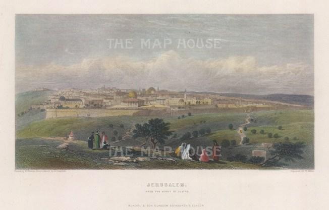 "Fairbairn: Jerusalem. 1866. A hand coloured original antique steel engraving. 8"" x 4"". [MEASTp1683]"