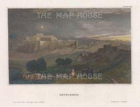 "Jackson: Bethlehem. 1836. A hand coloured original antique steel engraving. 6"" x 4"". [MEASTp1688]"