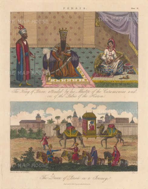 Double view. King of Persia, Master of ceremonies and Lady of the Harem. The Queen of Persia with her travelling entourage.