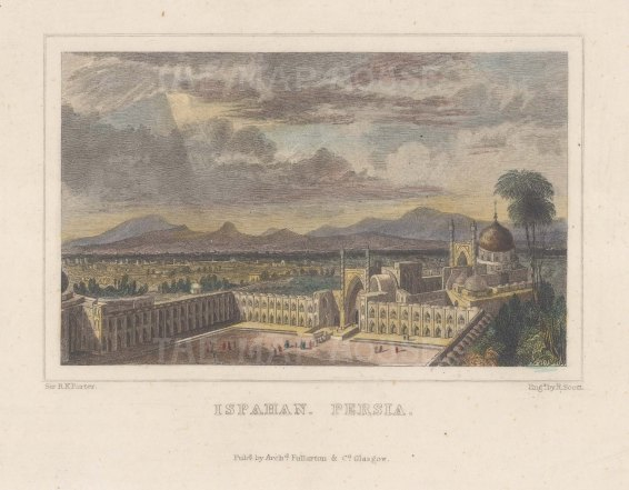 "Fullarton & Co.: Ispahan, Iran. c1845. A hand coloured original antique steel engraving. 6"" x 4"". [MEASTp1699]"
