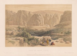 "Roberts: Petra. c1875. A hand coloured original antique lithograph. 11"" x 8"". [MEASTp857]"