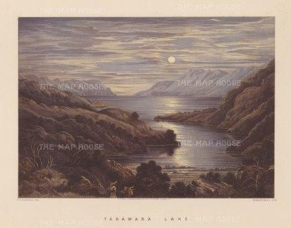 Tarawera Lake. Moonlit view over the lake before the eruption of Mount Tarawera.