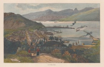 Lyttleton. Panoramic view across the harbour.