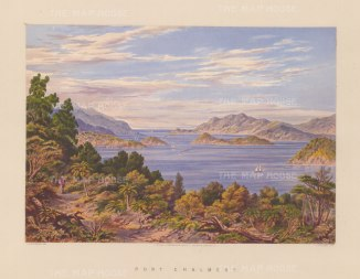 Port Chalmers from the environs towards Port Chalmers, Kamau Tauru, Goat Island and the Otago Peninsula.
