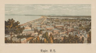 Napier. Panoramic view along the coast. Wakefield's New Zealand Land Company established numerous settlements that became principal towns.