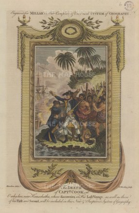 """Millar: The Death of Capt. Cook. 1782. A hand coloured original antique copper engraving. 8"""" x 12"""". [PLYp266]"""
