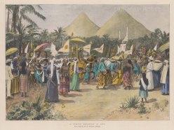 "Illustrated London News: Wedding procession, Java. 1896. A hand coloured original antique photo-lithograph. 13"" x 10"". [SEASp1017]"