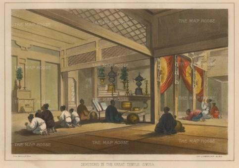 "Perry: Great Temple of Simoda. 1856. A hand coloured original antique lithograph. 10"" x 7"". [SEASp1233]"
