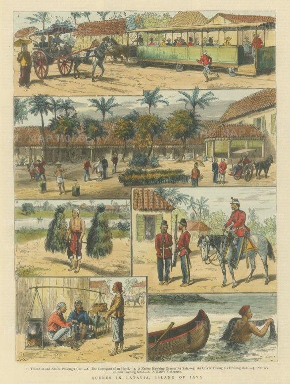 Java: Batavia (Jakarta). Scenes from everyday life; transport, socialising and fishing.