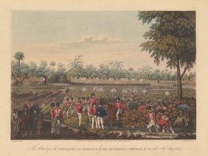 Rangoon (Yangon): First Anglo Burmese War. British Army attacking the stockades with a company observer beneath an umbrella. First Anglo Burmese War.