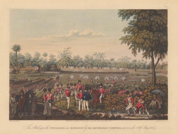 Rangoon (Yangon). First Anglo Burmese War. British Army attacking the stockades with a company observer beneath an umbrella. First Anglo Burmese War.