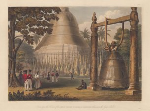 Rangoon (Yangon). Shwedagon Paya and Bell. Showing a substitute for the world's heaviest bell, cast in 1484 and sunk in the Yangon during its theft by Portuguese mercenaries in 1608.