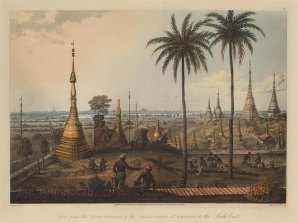 Shwedagon Paya, Rangoon (Yangon). View from the upper terrace towards the South East with British soldiers felling trees in the foreground.