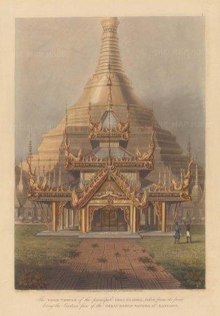 Rangoon (Yangon). Shwedagon Pagoda, eastern face of the Gold Temple of Guadma.