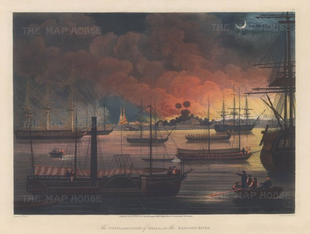 Dalla on the Rangoon (Yangon River): Burning plain of Dalla with the British Fleet in the harbour including HMS Diana, the first steam-powered warship of the East India Company newly armed with Congreve rockets