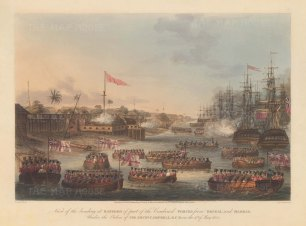 Rangoon (Yangon). Landing of the combined forces of British Infantry, Bombay Marine and the East India Company's private armies from Bengal and Madras. First Anglo-Burmese War.