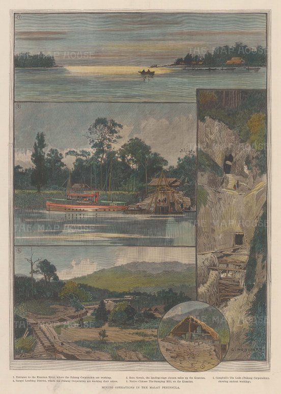 """Illustrated London New: Pahang, Malaysia. 1890. A hand coloured original antique wood engraving. 11"""" x 15"""". [SEASp1501]"""