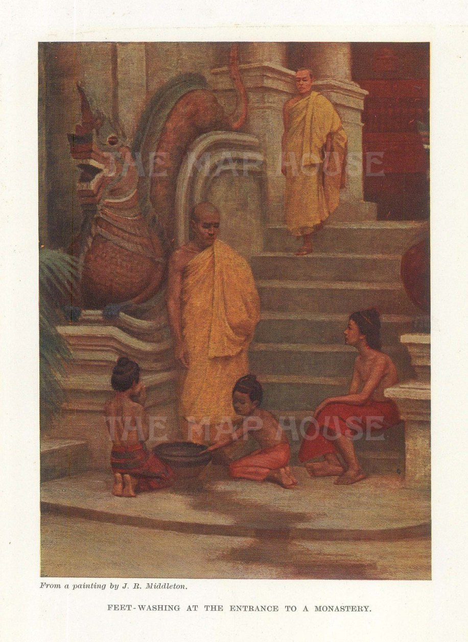 Feet washing at an entrance to a monastery. After James Raeburn Middleton.