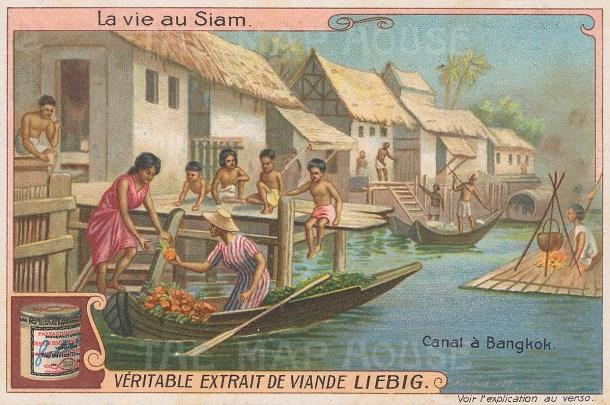 """Liebig's Extract: Bangkok. c1910. An original antique chromolithograph. 4"""" x 3"""". [SEASp1611]"""