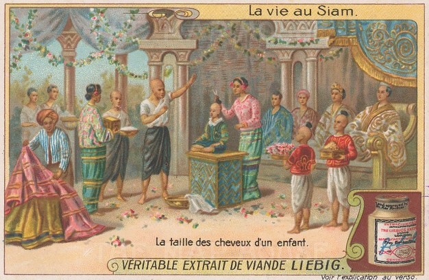 "Liebig's Extract: Ceremony of cutting hair. c1910. An original antique chromolithograph. 4"" x 3"". [SEASp1613]"