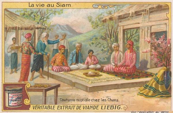"""Liebig's Extract: Traditional wedding ceremony. c1910. An original antique chromolithograph. 4"""" x 3"""". [SEASp1614]"""