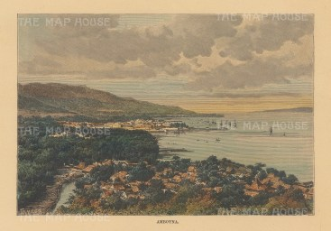 Moluccas: Amboyna. Panoramic view over the harbour and bay.