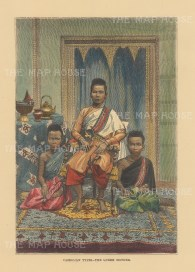 Cambodia: Queen Ang Mei wih two of her twenty children. After a photograph taken twenty years earlier.