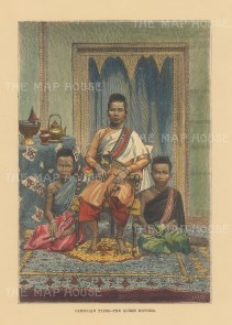 Cambodia. Queen Ang Mei wih two of her twenty children. After a photograph taken twenty years earlier.