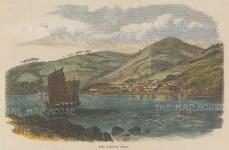 "Illustrated London News: Geomun-do, Korea. 1865. A hand coloured original antique wood engraving. 9"" x 6"". [SEASp1688]"