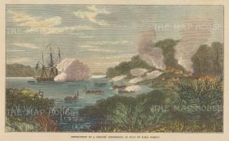 Carang, Sulu. Destruction of the pirates' stronghold Carang by HMS Nassau.
