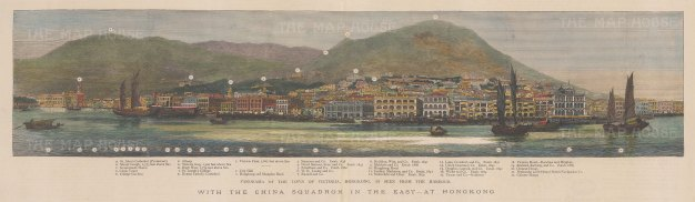 Panoramic view of the harbour from St John's Cathedral to the Chinese warehouse. With key.