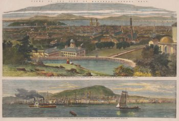 Double panorama: Montreal from the Royal Mount showing the Victoria Bridge and towards the Royal Mount from the St Lawrence.
