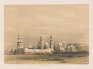 """Roberts: Tombs of the Mamlooks, Cairo. 1849. A hand coloured original antique lithograph. 15"""" x 11"""". [EGYp1063]"""
